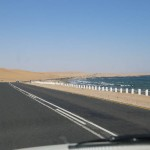 SwakopmundからWalvisbayへの海岸線