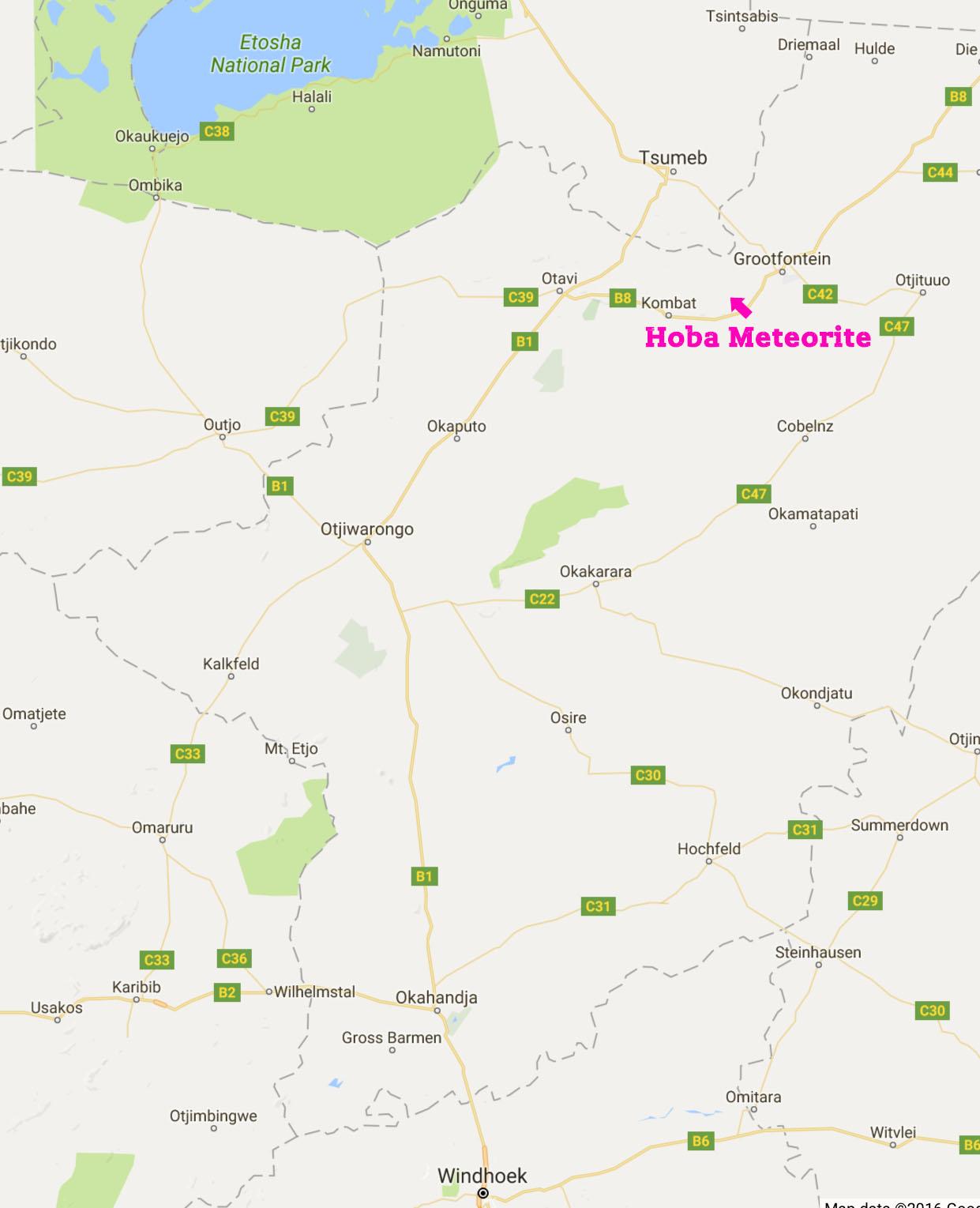 map-HobaMeteorite